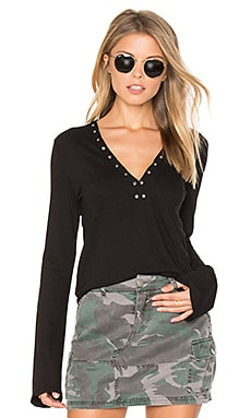 V Neck Grommet Top in Black