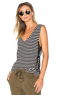 Striped Lace Up Tank in Cream & Black Stripe