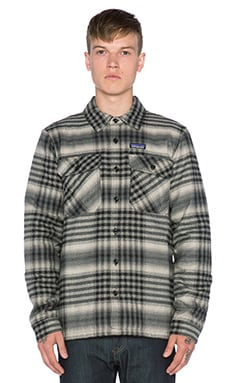 Patagonia Insulated Fjord Flannel in Winter Dusk & Black