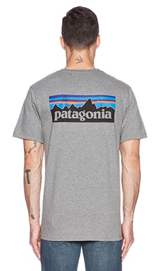 Patagonia P6 Logo Tee in Gravel Heather