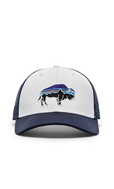 Patagonia Fitz Roy Bison Trucker Hat in White & Navy Blue