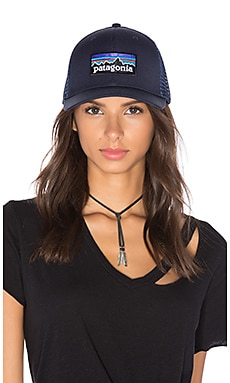P-6 Logo Trucker Hat in Navy Blue