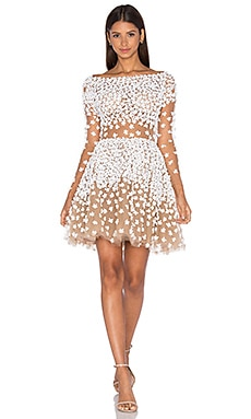 Patricia Bonaldi Long Sleeve Floral Embellished Mini Dress in White