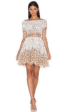 Long Sleeve Floral Embellished Mini Dress