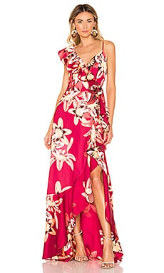 Floral Carmen Maxi Wrap Dress PatBo $795