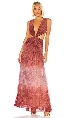 Ombre Lurex Sleeveless Cutout Gown PatBO $488
