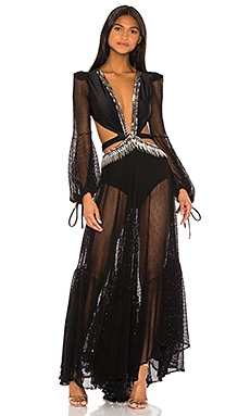 x REVOLVE Cutout Long Sleeve Gown PatBO $925