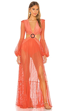 Long Sleeve Mesh Beach Dress PatBO $725 Collections