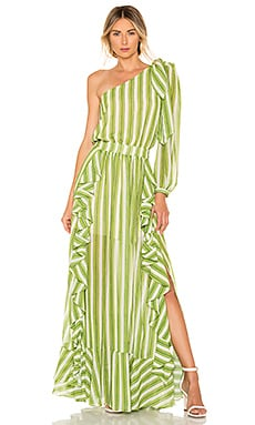 Striped One Shoulder Maxi Dress PatBO $617 Collections