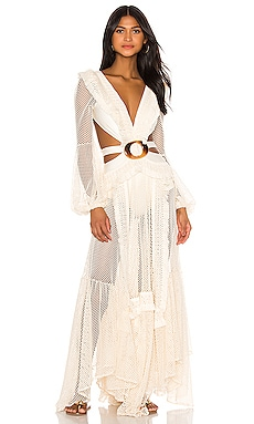 Long Sleeve Fringe Beach Dress PatBO $775