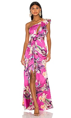 Grace Print One Shoulder Maxi Dress PatBO $775