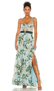 Floral Bustier Belted Maxi Dress PatBO $995