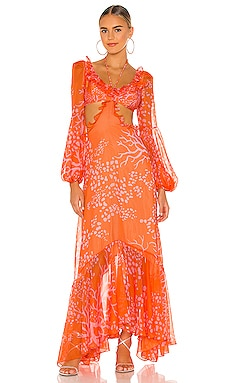 Coral Print Dress PatBO $825