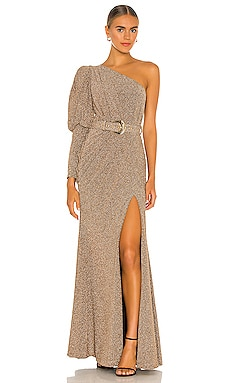 Lurex One Shoulder Maxi Dress PatBO $995 BEST SELLER
