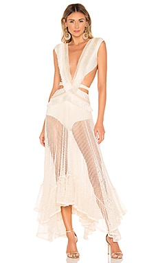 Fringe and Mesh Cutout Maxi Dress PatBo $675