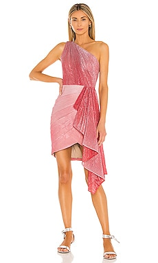 Ombre Lurex One Shoulder Mini Dress PatBO $650 Sustainable