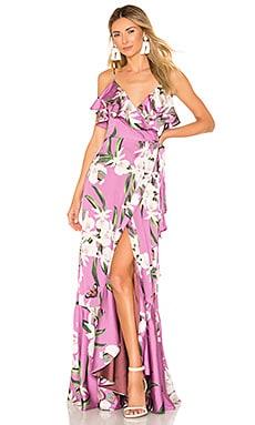 Orchid Print Wrap Maxi Dress PatBO $303
