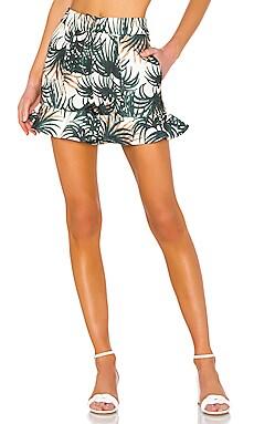 Palm Print Ruffle Shorts PatBO $127