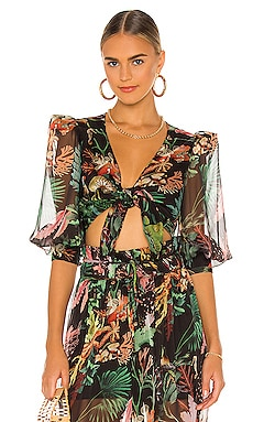 Oasis Tie Front Cropped Top PatBO $350 Collections