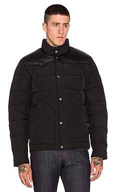 Penfield Pelam Leather Yoke Down Jacket in Black