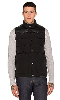 Penfield Pelam Leather Yoke Down Vest in Black
