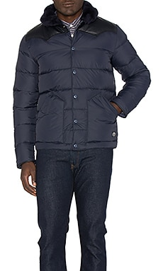 Rockwool Leather and Shearling Yoke Down Jacket