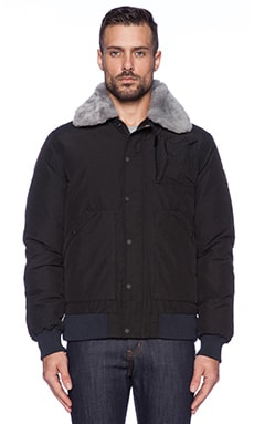 Penfield Greenhill Bomber with Shearling trim in Black