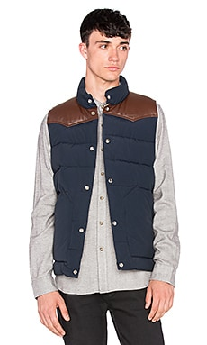 Penfield Pelam Leather Yoke Down Vest in Navy