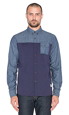 Penfield Holdridge Contrast Chambray Button Up in Navy