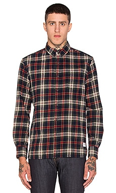 Penfield Harmon Brushed Plaid Button Up in Green