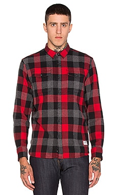 Penfield Chatham Check Button Up in Red
