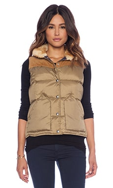 Penfield Rockwool Shearling Collar Down Vest in Tan
