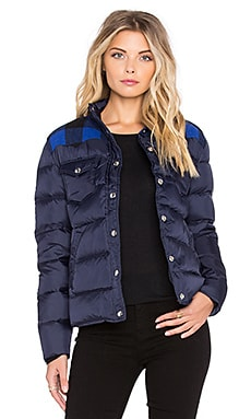 Rockford Plaid Yoke Down Jacket in Navy