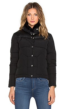 Rockwool Leather Yoke Down Jacket en Noir