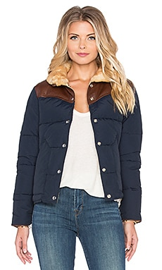 Penfield Rockwool Leather & Shearling Yoke Down Jacket in Navy