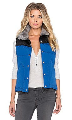 Penfield Rockwool Leather & Shearling Yoke Down Vest in Cobalt