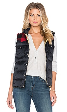 Penfield Rockford Plaid Yoke Down Vest in Black