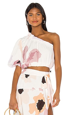 Puff Crop Top Peony Swimwear $98