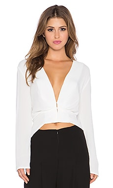 PFEIFFER Alexis Deep V Long Sleeve Top in Milk