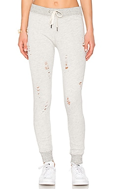 Nikki Distressed Sweatpants in Heather Grey