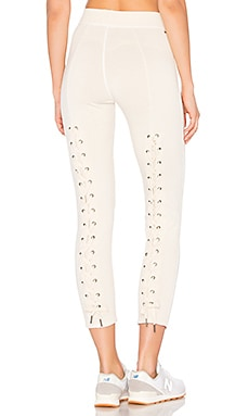 Reiko Lace Back Sweatpant in White Magic