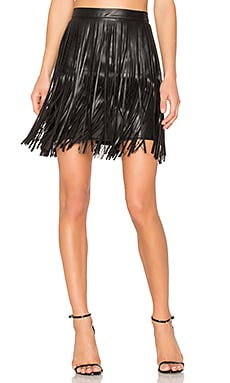 Clover Fringe Mini Skirt in Black