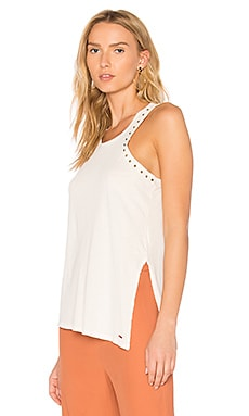 Lourdes Studded Racer Tank in White Magic