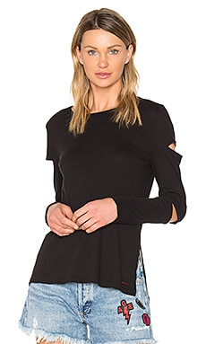 Gloria Long Sleeve Cutout Top in Black