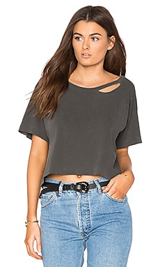 Codie Distressed Crop Tee in Ghost