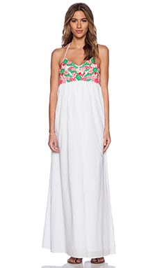 Pia Pauro Embroidered Halter Dress in White