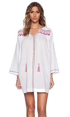 Pia Pauro Emrbroidered Tunic Dress in White