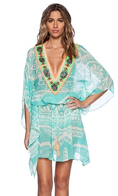 Pia Pauro Ladies Embroidered Kaftan in Tahiti Tattoo Seafoam