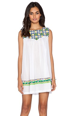 Pia Pauro Embroidered Dress in White
