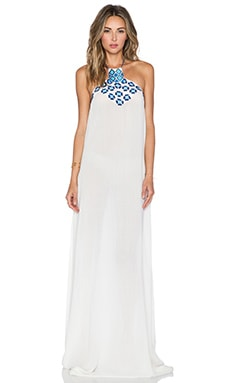 Pia Pauro Embroidered Maxi Dress in White